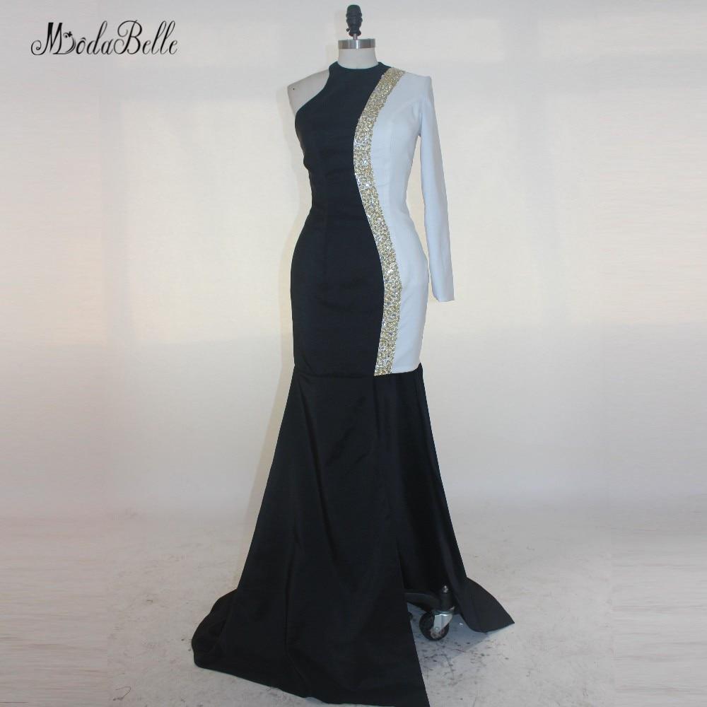 Modabelle White Black One Shoulder Sexy Prom Dress Open Leg Modest