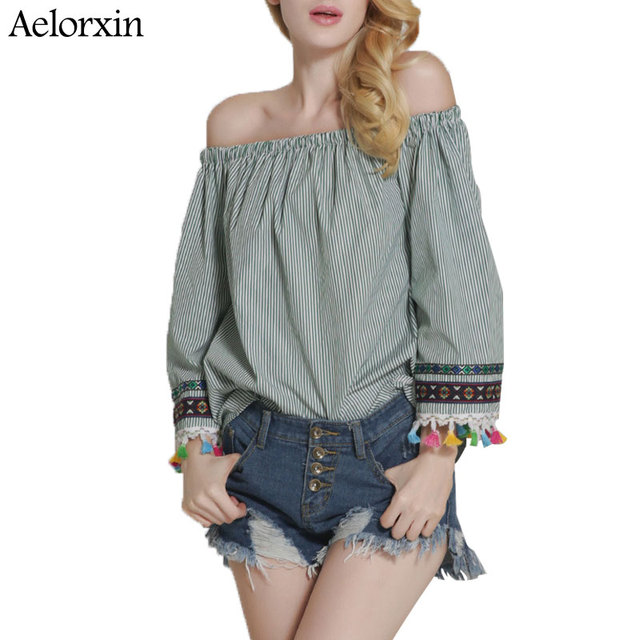 d36910ba29678e Aelorxin 2017 Off Shoulder Blouses Women Kimono Summer Sexy Slash Neck Embroidery  Tassel Blue Stripes Plus Size Top Blusas Mujer