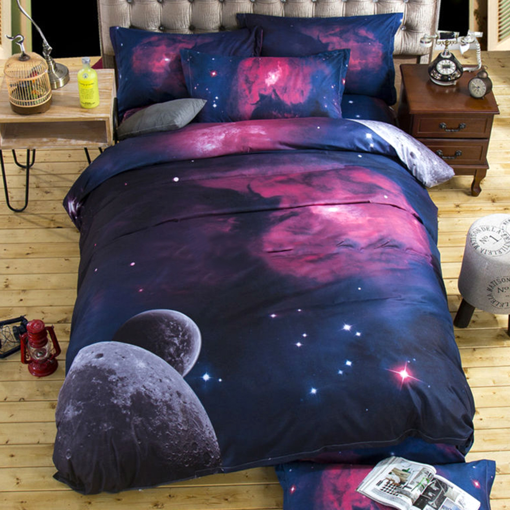 3D Galaxy Bedding sets Double/King Size Outer Space Themed Bedspread Comforted Bedding sests 2/3Pcs Duvet Cover Set ...
