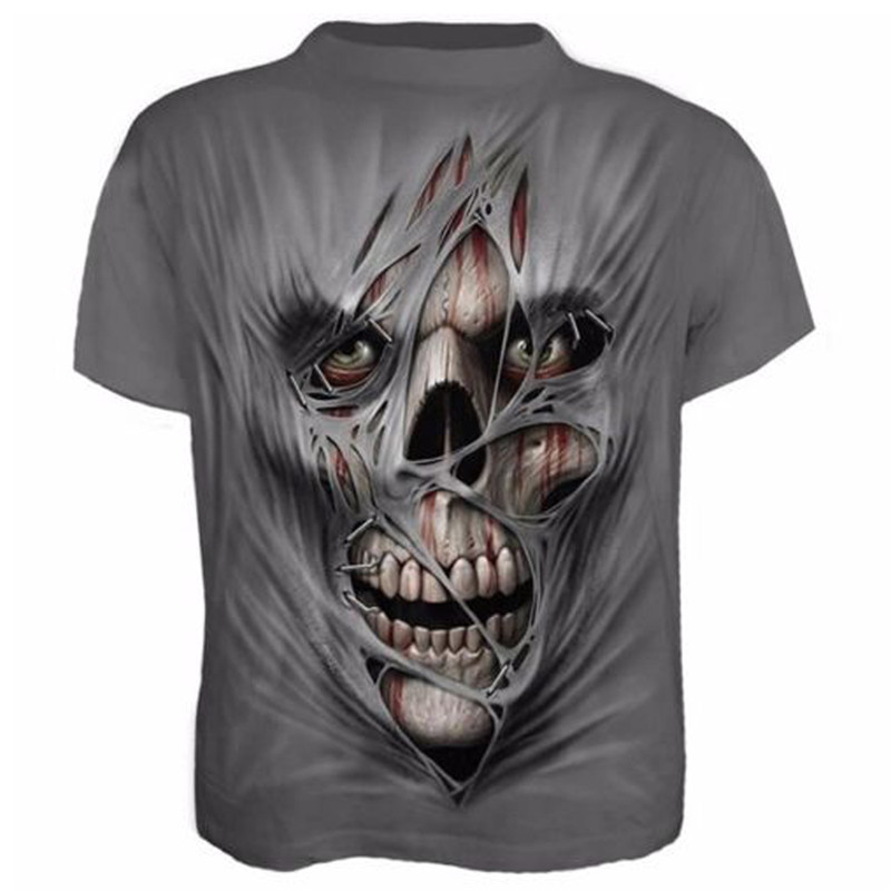 2019 New Summer Cotton Men Graphic Print T Shirt Biker Top Crew Neck