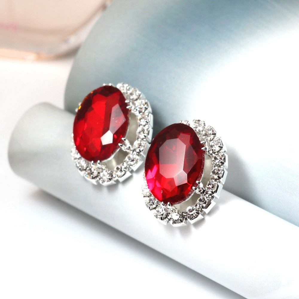 Hot Blue White Black Red Purple Crystal Gem Oval Shape Ear Studs Sexy Large  Stud Earrings