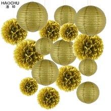 Lote de 16 unidades de bolas decorativas de papel tisú redondo, farol con Pompón, flor de pompones, Color dorado, fiesta de boda, decoración de cumpleaños para niños, Babyshower