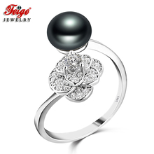 Vintage Flower 925 Sterling Silver Ring for Women Party Jewelry 8-9MM Black Freshwater Pearls Fine Jewelry Wholesale Gifts FEIGE vintage black baroque pearl bracelet for women freshwater pearls red crystal beads bracelets party jewelry gifts wholesale feige