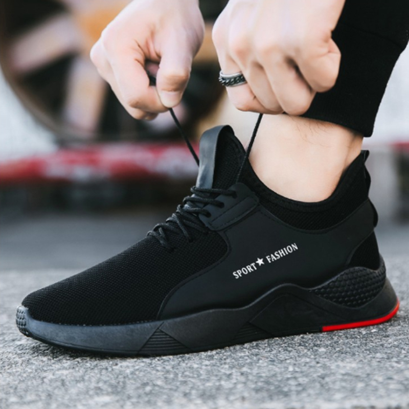 Puimentiua Male Sneakers Vulcanize-Shoes Mesh-Trainers Black Sports Casual Lace-Up Torridity