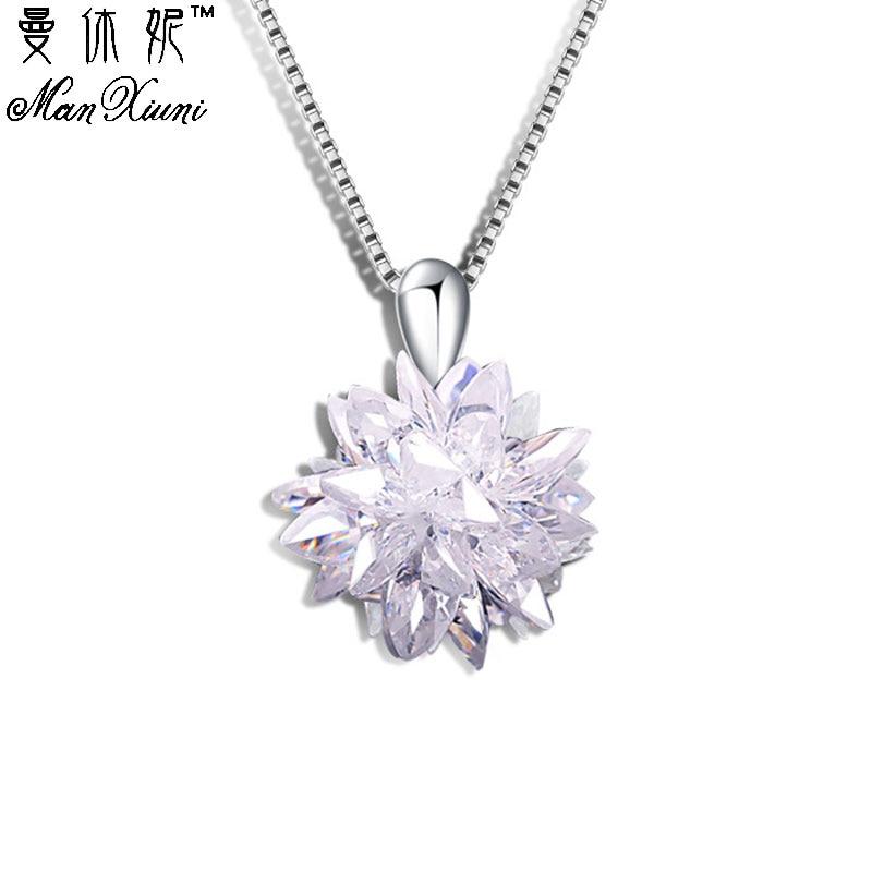 Snowflake CZ Stone halskjeder og anheng Hvit sølvbelagt motekjede Cubic Zirconia smykker lange halskjeder for kvinner