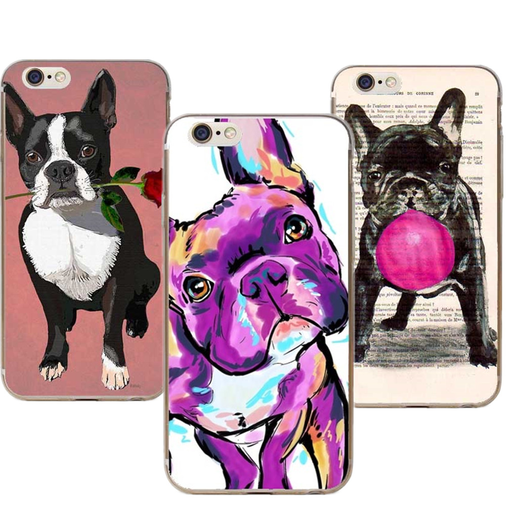 Phone Cases French Bulldog Art For Iphone X XR XS MAX Boston Terrier Rose Dog Cover For IPhone 5
