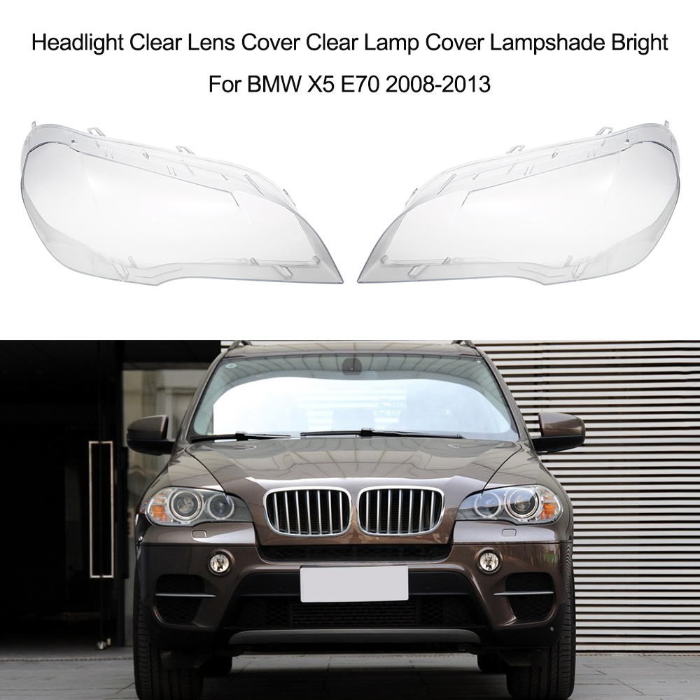 Headlight Clear Lens Cover Clear Lamp Cover Lampshade Bright For BMW X5 E70 2008-2013 stainless steel side door body molding cover trim for bmw x5 e70 2008 2013