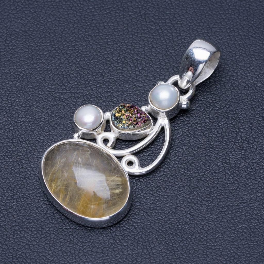 Natural Rutilated Quartz, Druzy and River Pearl 925 Sterling Silver Pendant 1 3/4 Q0525Natural Rutilated Quartz, Druzy and River Pearl 925 Sterling Silver Pendant 1 3/4 Q0525