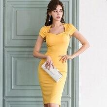 De las mujeres de la moda cómoda y elegante estilo de trabajo nueva llegada vestido temperamento fiesta vintage sexy amarillo fresco vestido de lápiz