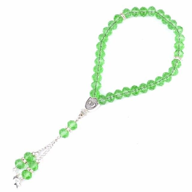 33 תפילת חרוזים אסלאמי מוסלמי צמיד לנשים Tasbih צמידי אללה מוחמד תפילה ירוק קריסטל חרוזים תכשיטים סיטונאי
