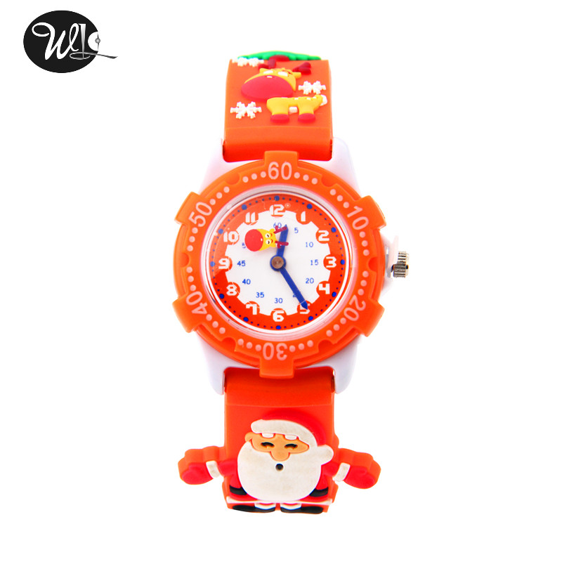Children's Watch 3D Strap Cartoon Boy Girl Santa Quartz Watch Pointer Electronic Waterproof Watch Child Gift Watch