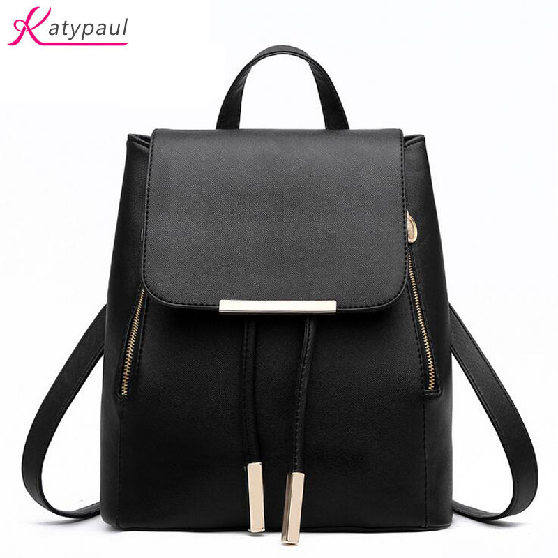 Backpack Female 2017 New Famous Brands KatyPaul Candy Colors White Women Backpack PU Leather High Capacity School Bag For Girls 2018 new casual girls backpack pu leather 8 colors fashion women backpack school travel bag with bear doll for teenagers girls