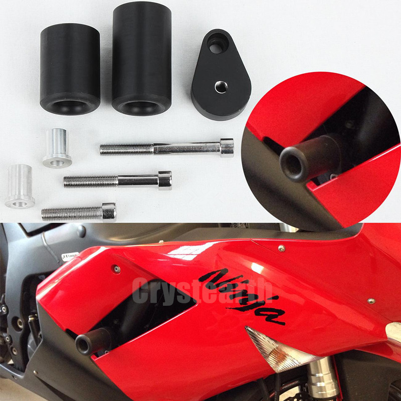 Motorcycle Falling Protection No Cut Crash Pads Fairing Frame Protector Sliders For Kawasaki Ninja ZX6R ZX-6R ZX 6R 2007 2008 motorcycle frame sliders crash engine guard pad aluminium side shield protector for kawasaki ninja zx6r 636 2009 2010 2011 2012