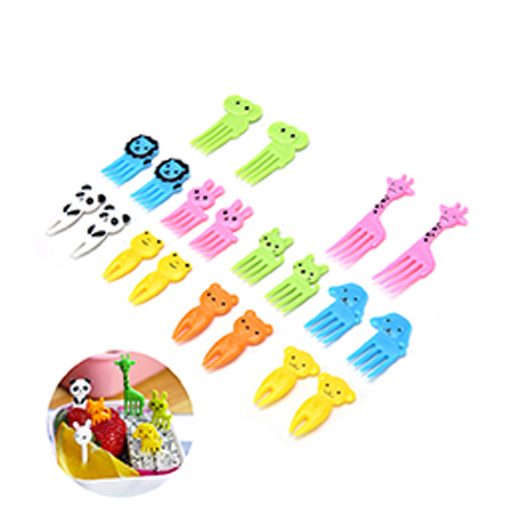 Hot Sale 10pcs/Set Animal Fruit Fork Mini Cartoon Children Snack Cake Dessert Food Fruit Pick Toothpick Random Color
