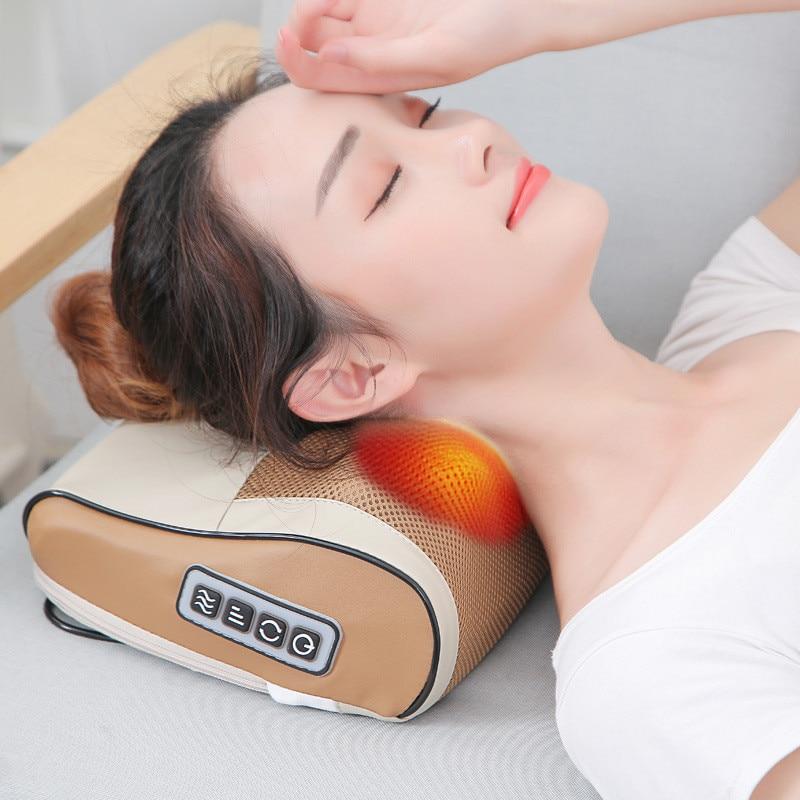 Infrared Heating Neck Shoulder Waist Back Body Massager Pillow Kneading Shiatsu Massage Device Cervical Spa Cushion Health Care цена