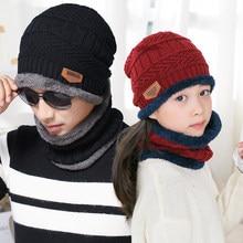 b94de615 2Pcs/Set Warm Winter Hats Unisex Beanies For Children Adult Wool Scarf Caps  Balaclava Mask Knitted Hat Parent-child Cap Dad Gift