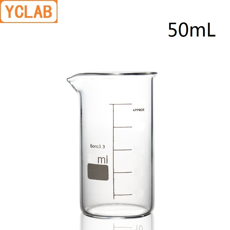 YCLAB 50mL Beaker Tall Form Borosilicate 3.3 Glass With Graduation And Spout Measuring Cup Laboratory Chemistry Equipment