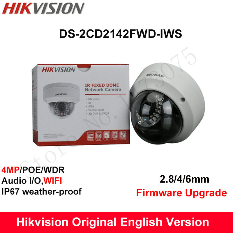 In Stock Hikvision English Version DS-2CD2142FWD-IWS  4MP CCTV Camera 120dB P2P IP Camera POE Audio Dome Mini wifi Camera IP67 touchstone teacher s edition 4 with audio cd