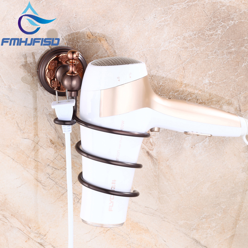 Free Shipping Wall Mounted Oil Rubbed Bronze Bathroom Hair Dryer Holder Brass Material allen roth brinkley handsome oil rubbed bronze metal toothbrush holder