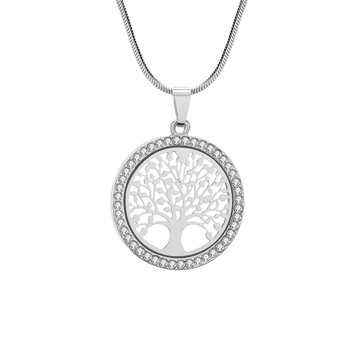 Crystal Round Small Pendant Necklace Jewelry Necklaces Women Jewelry Metal Color: Silver Color