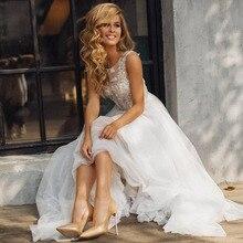 Smileven Wedding Dress Elegant Sleeves 3D Appliques Beach Bride Dresses Scoop Neck Backless Floor Length Backless Floor Length