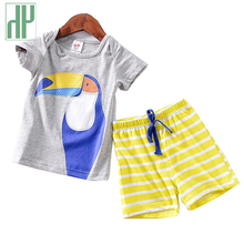 Kids clothes boys Cartoon stripe shorts toddler girls summer clothing set tiny cottons children clothing outfits 1 2 3 4 5 Year недорого