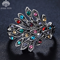 Jessie Pepe New Arrival Retro Multi Peacock  White Gold Plated Green/Black/Red/Multi Crystal Rings Fashion J-G2209Multi