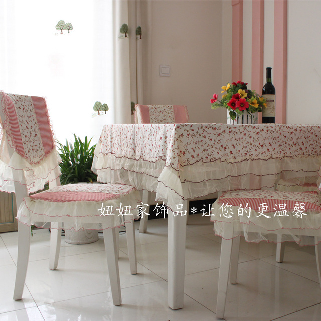 Red roses dining table kit table cloth cushion back cover