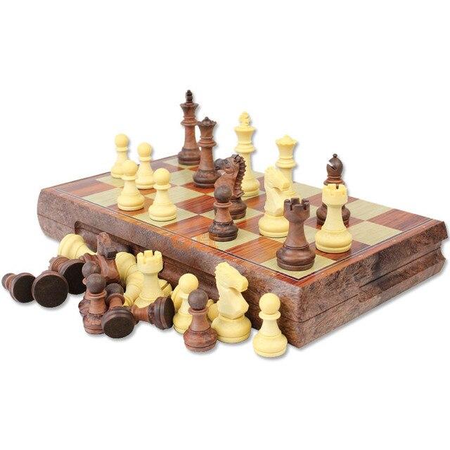 Jeu d'échecs de voyage plastique look bois, taille ouverte 36cm x 31cm 2