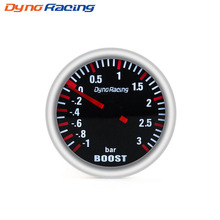 Dynoracing 252MM 3 BAR Boost Turbo Gauge Mechanical White Led Smoke lens Sensor BX101537