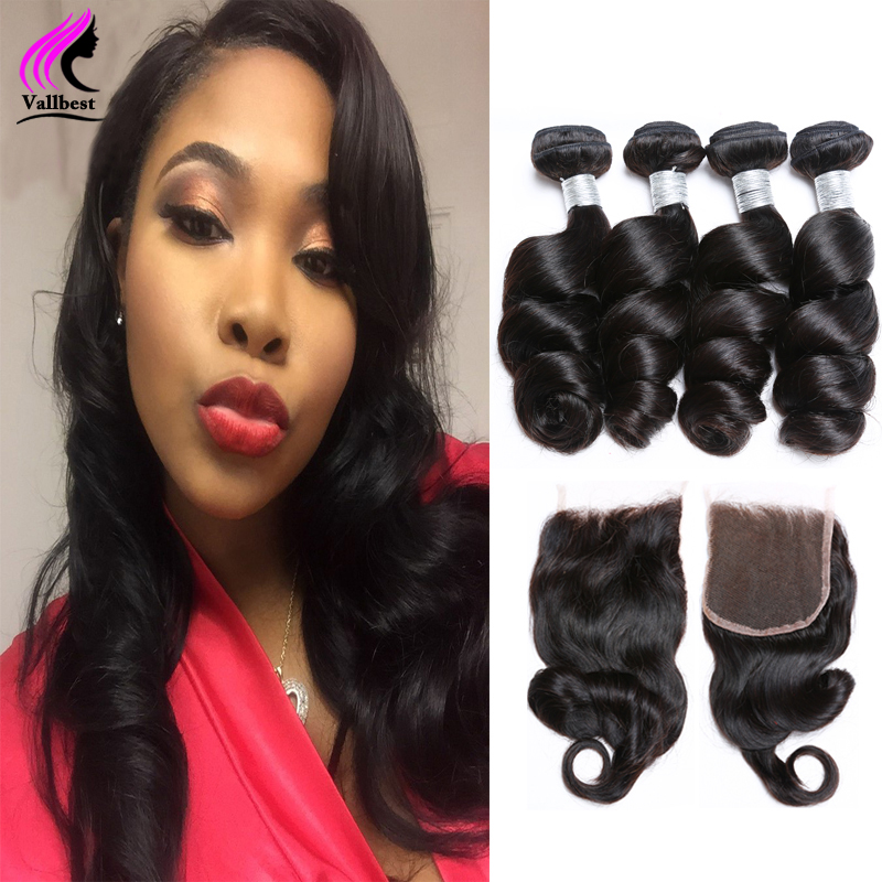 7A Loose Wave With Closure Brazilian Loose Wave Virgin Hair With Lace Closure And4 Bundles With Closure Human Hair With Closure