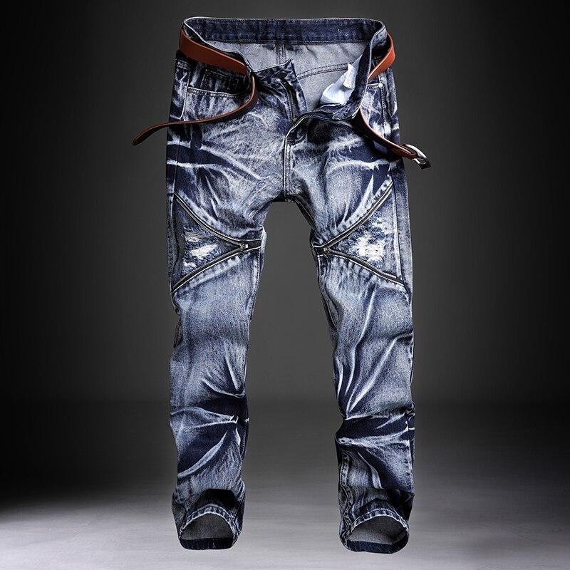 Calças de brim masculino jean homme masculino clássico dos homens calças de moda denim biker pant fino ajuste baggy calças retas designer rasgado