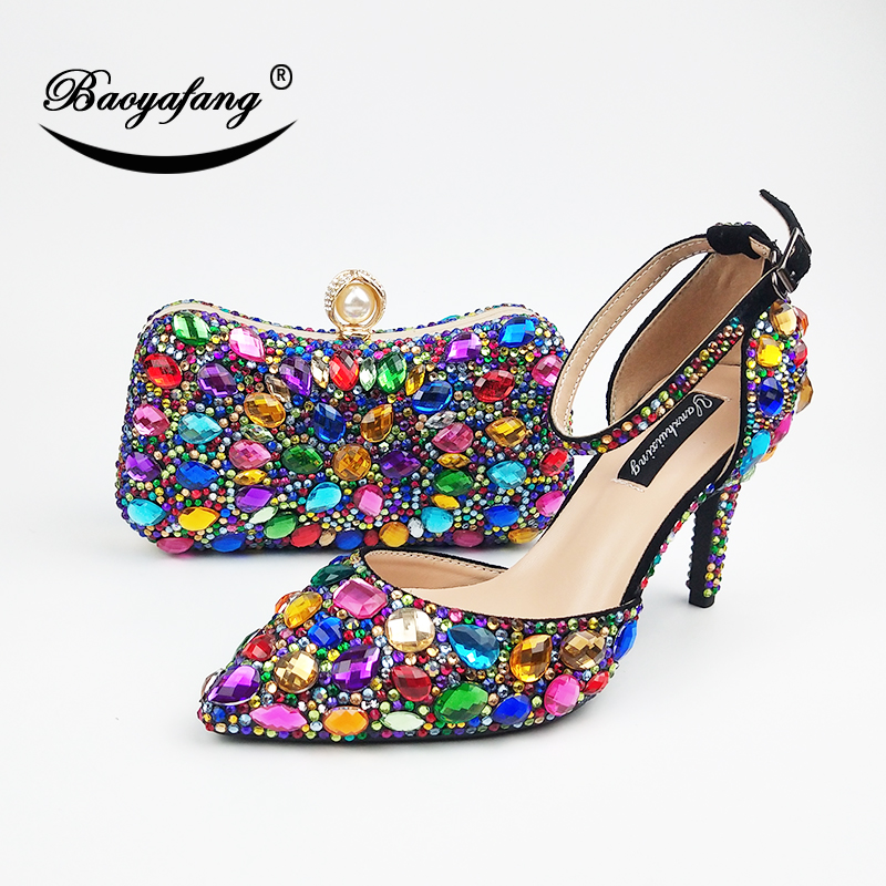 Women wedding shoes with matching bags Multicolored Crystal High heels platform shoes Ladies Paty Dress shoes