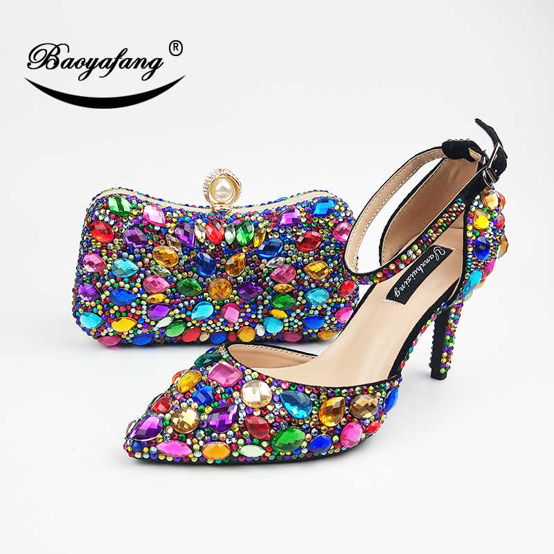 Women wedding shoes with matching bags Multicolored Crystal High heels platform shoes Ladies Paty Dress shoes women Pumps