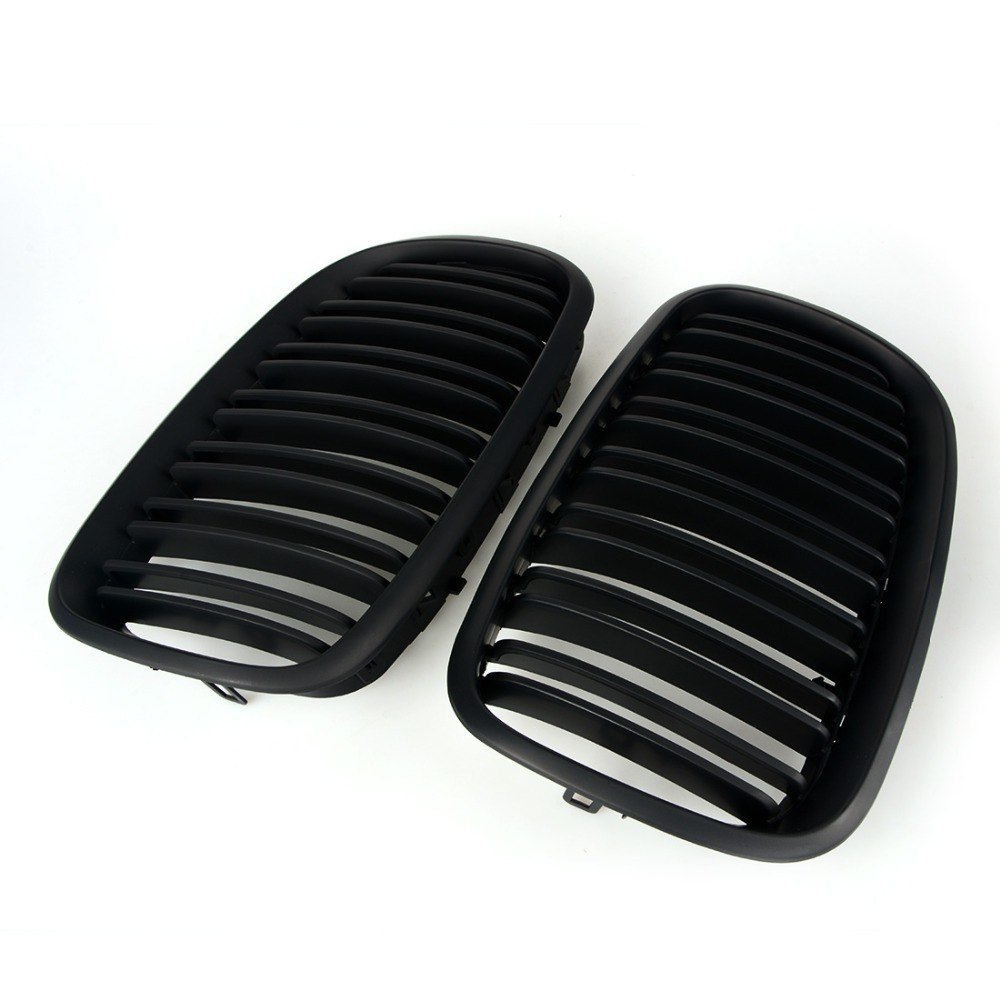 2pcs Black Double Slat Kidney Grille Front Grill For BMW E70 E71 Model X5 X6 SUV M Sport xDrive 2007 2013 Car Styling