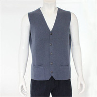 high quality 100%goat cashmere knit men fashion sleeveless thick cardigan vest sweater H straight dark grey 6color S/2XL