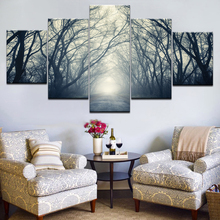 5Panel HD Printed A road in the forest mist Landscape Print On Canvas Art Painting For home livingroom decoration