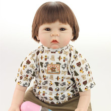 Cute Short Brown Hair Silicone Reborn Dolls With Cotton Body For Baby Girl Cheap 22 Inch Realistic Reborn Babies For Adoption