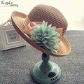 Elegante Meninas Verão Chapéus De Palha Forma Floral Bebê Meninas Palha tampas de crianças proteção do sol praia chapéus crianças cap sombrero de copa