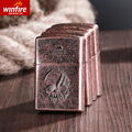 Winfire/ creative retro kerosene lighter snow Xingfeng copper embossed windproof lighter factory direct group