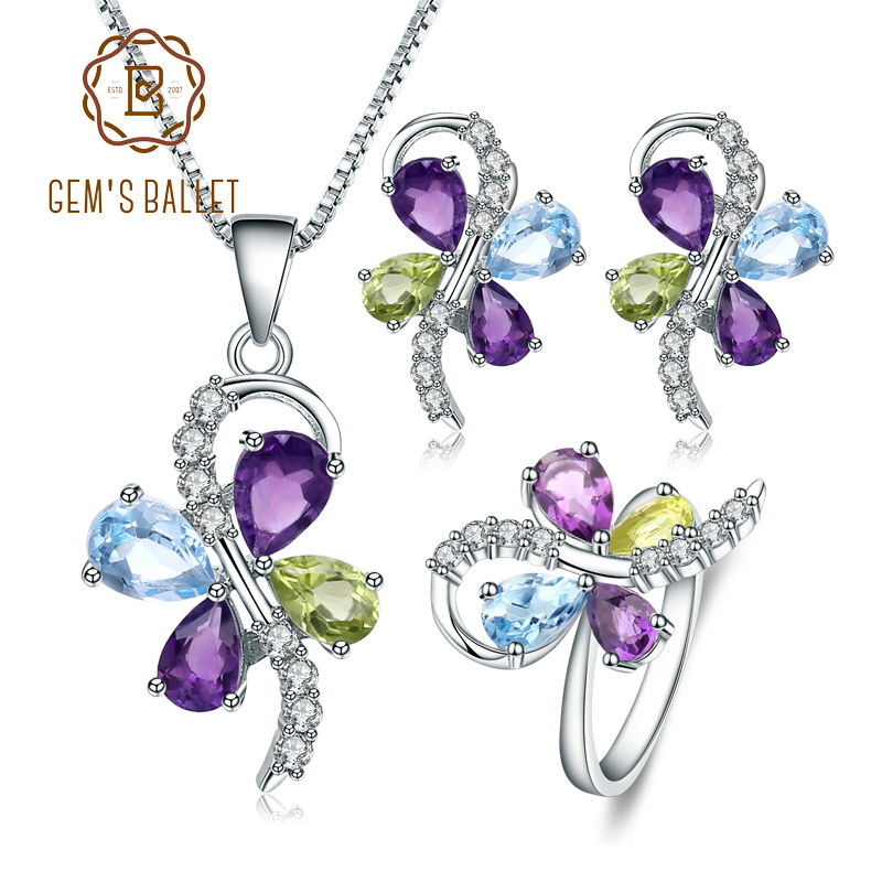 GEM S BALLET Natural Amethyst Peridot Topaz Jewelry Set 925 Sterling Silver Necklace Earrings Ring Set