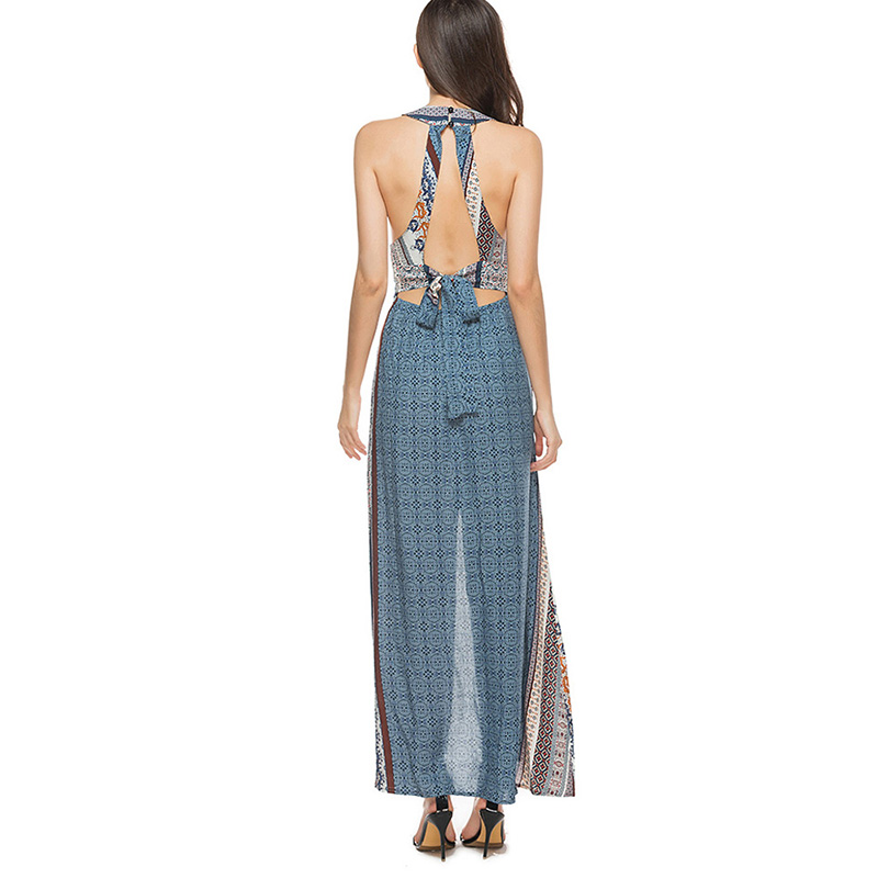 46d70d59ad3 SheBlingBling Casual Beach Dress Lace up Cutout Back Halter Dress Summer  Fashion Sleeve Slit Side Maxi Dress High Waist-in Dresses from Women s  Clothing on ...