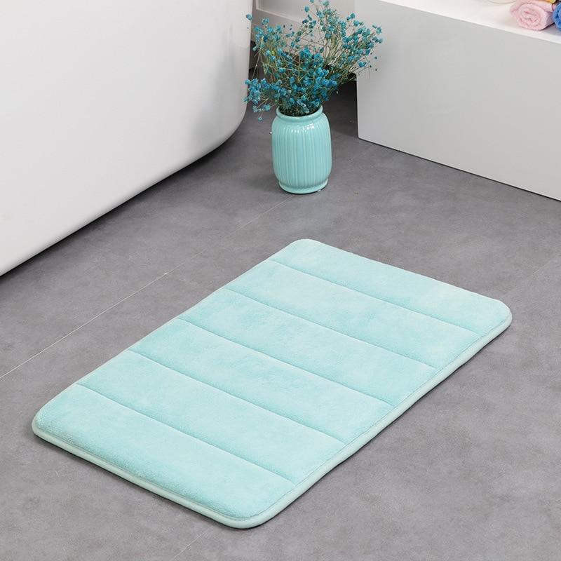2018 New Arrival Factory direct coral suede solid color thick memory foam mat carpet bathroom absorbent mat door mat