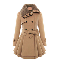 women's Double Breasted Trench Wool Coat long Winter Jackets parka coats Outerwear for lady good quality new 2016
