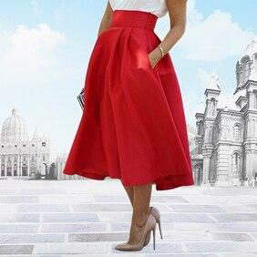 Mode femmes Midi jupes été de mariage taille haute une ligne plissée jupes longues livraison directe