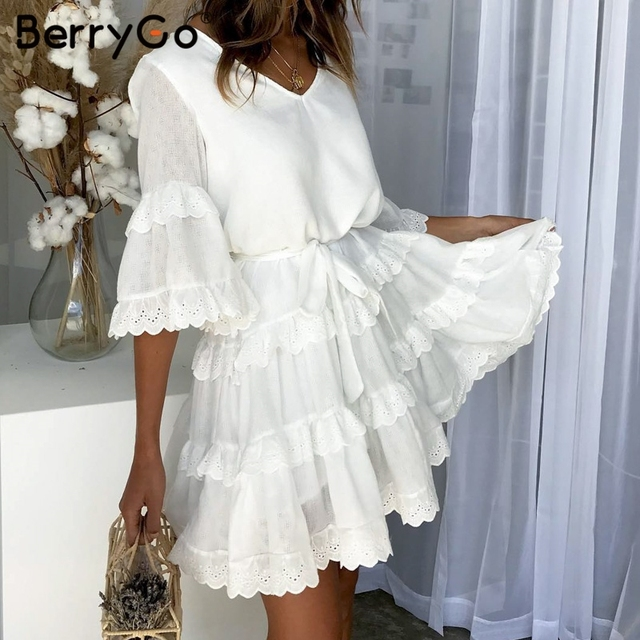 BerryGo Elegant summer dress ruffled embroidery white dress women Flare sleeve sashes Casual v-neck sexy dress ladies dresses