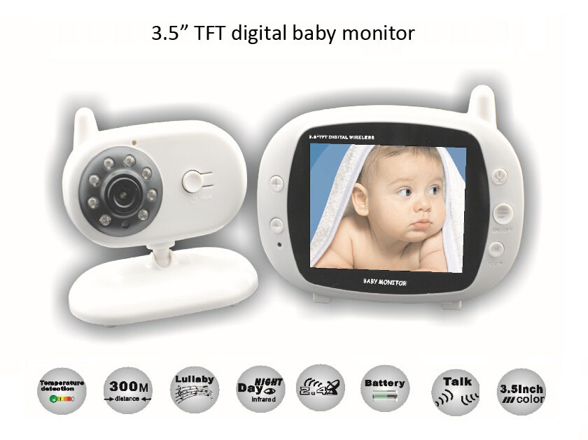 Wireless Digital Baby Monitor 3.5 inch LCD Screen Two Way Audio Video Baby Monitor Night Vision Lullaby Infant Camera цена 2017