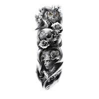 Водонепроницаемая временная татуировка наклейка череп с маской девушка тело искусство полная рука большой размер рукав тату армия воин дл