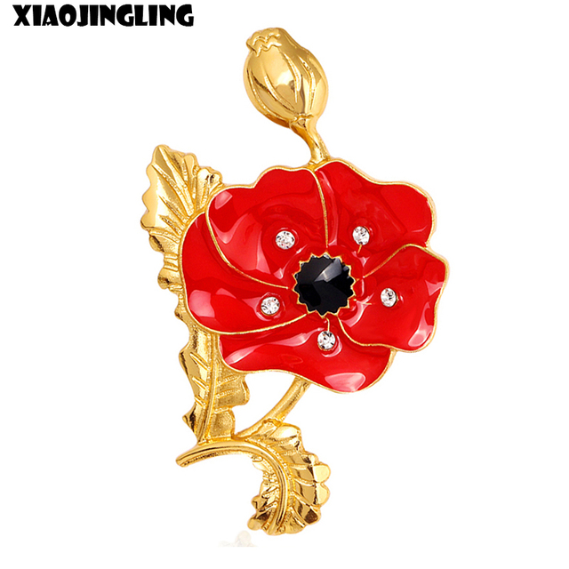 Xiaojingling fashion red poppy flower brooches for women enamel xiaojingling fashion red poppy flower brooches for women enamel memorial brooch trendy sweater suit accessories broches mightylinksfo