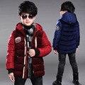 Crianças Engrossar Casacos de Inverno Para Meninos de Roupas Casuais Com Capuz Meninos de Algodão Parka Crianças Outerwear Casacos de Inverno 2 4 6 8 10 12 ano
